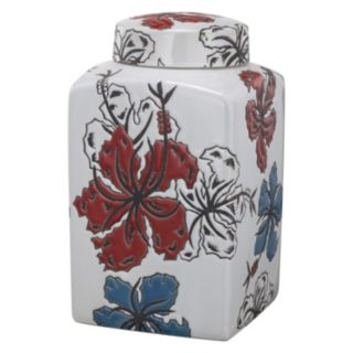 5'' x 5'' x 8'' Ceramic Square Lidded Canister