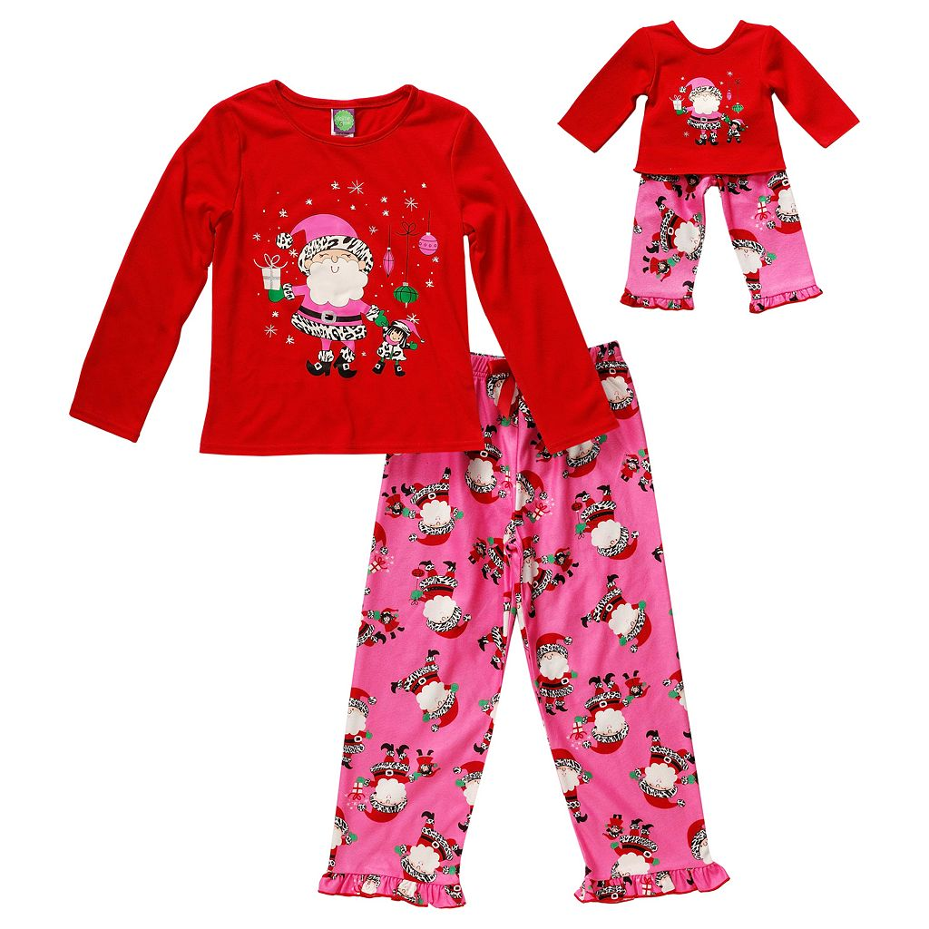Dollie & Me Girls 4-14 Santa & Elf Pajama Set