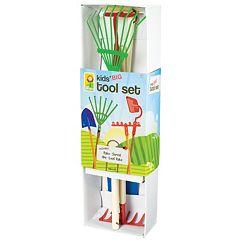Toysmith Kids Garden Tool Set with Garden Rake, Spade, Hoe & Leaf Rake
