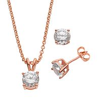 Cubic Zirconia 24k Gold Over Brass Solitaire Pendant Necklace & Stud Earring Set
