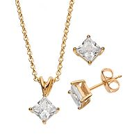 Cubic Zirconia 24k Gold Over Brass Princess Solitaire Pendant Necklace & Stud Earring Set