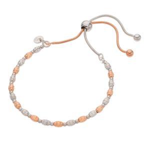Two Tone Sterling Silver Beaded Lariat Bracelet
