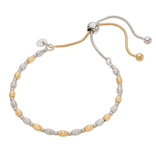 Two Tone Sterling Silver Beaded Lariat Bracelet