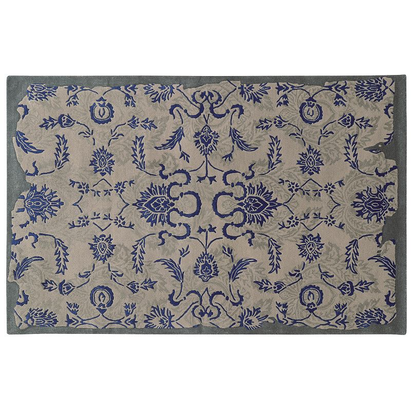 PANTONE UNIVERSE Color Influence Eroded Ornate Floral Rug, Blue, 8X10 Ft Product Image