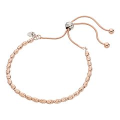14k Rose Gold Over Silver Beaded Lariat Bracelet