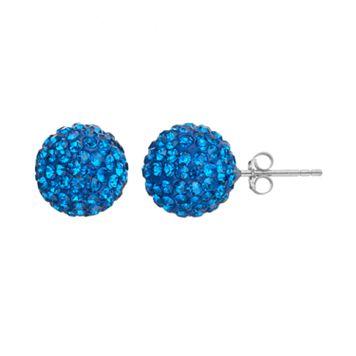 Crystal Sterling Silver Ball Stud Earrings