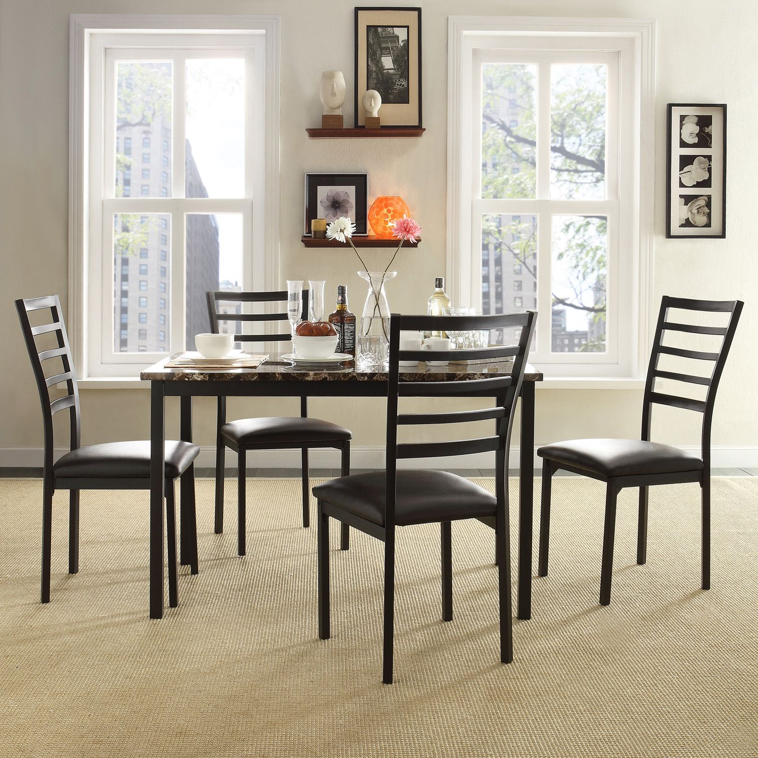 HomeVance 5 Piece Stinson Faux Marble Dining Set