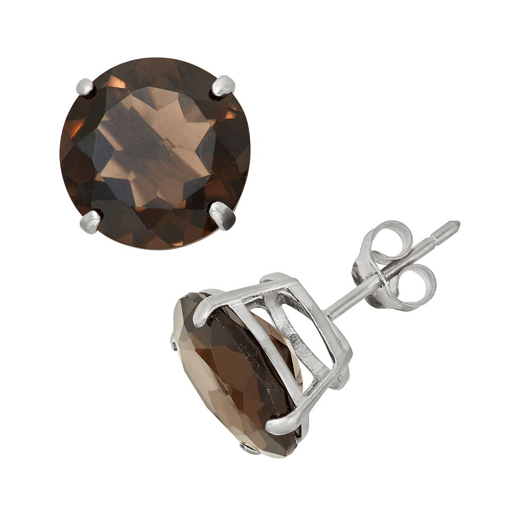 Lab-Created Smoky Topaz Sterling Silver Stud Earrings
