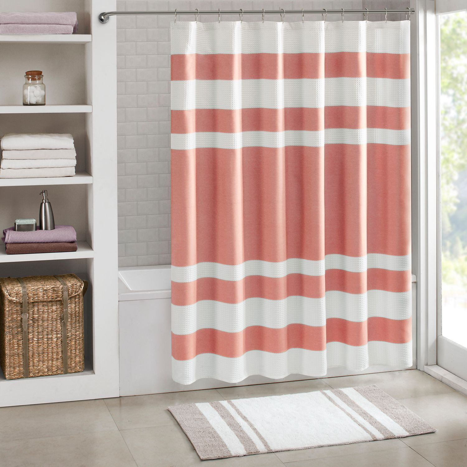 Exceptionnel Madison Park Spa Waffle Weave 3M Scotchgard Fabric Shower Curtain