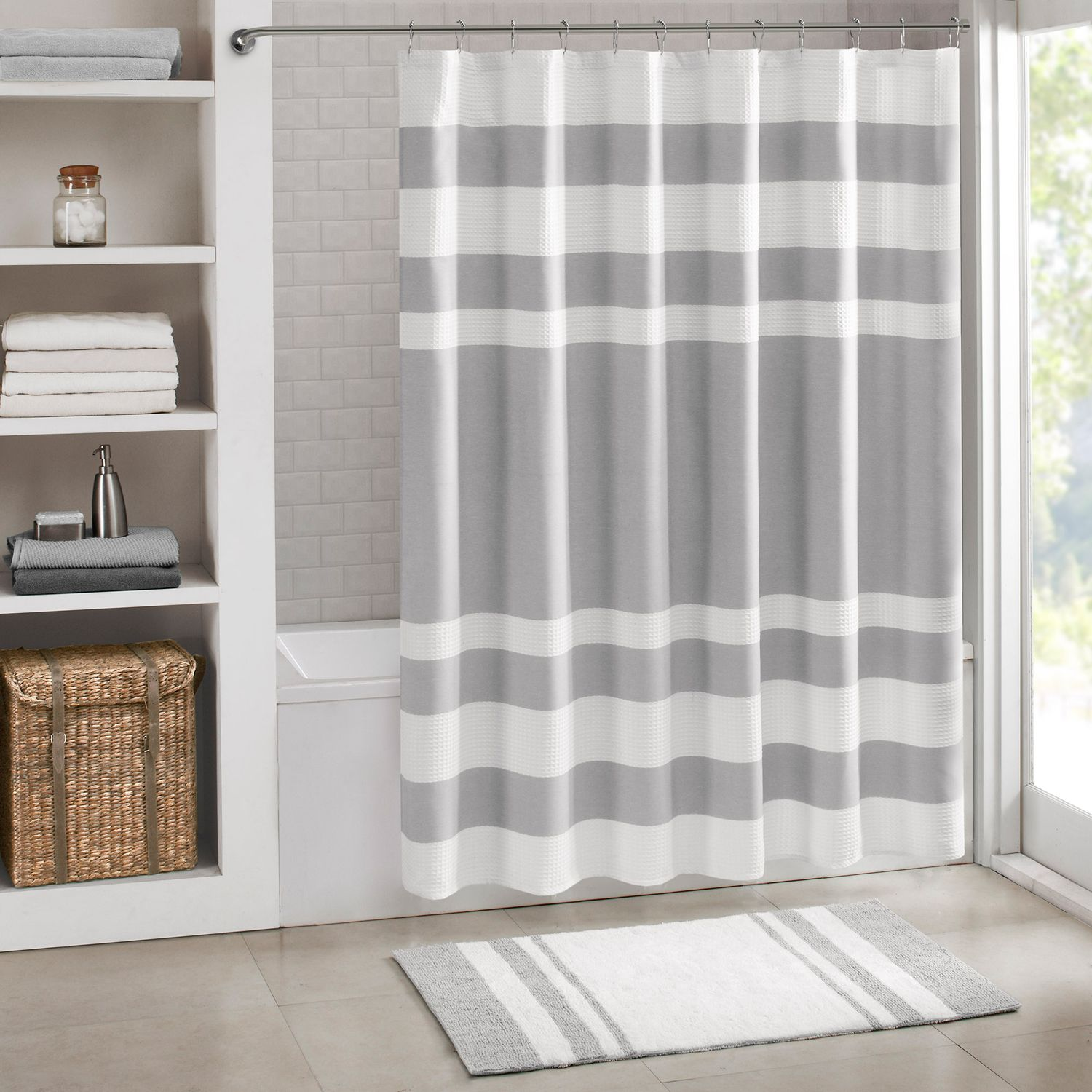 Exceptional Madison Park Spa Waffle Weave 3M Scotchgard Fabric Shower Curtain