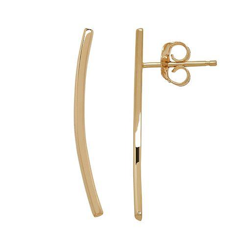 14k Gold Curved Bar Ear Climber Earrings
