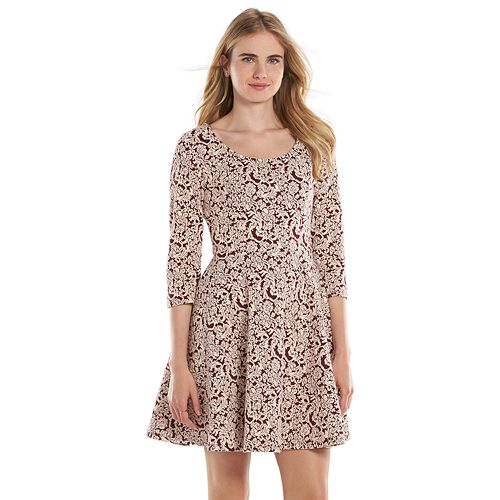 87e670c4275 LC Lauren Conrad Scroll Fit   Flare Sweaterdress - Women s