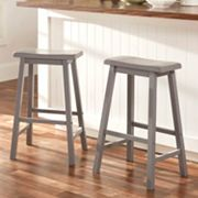 HomeVance 2 pc Reagan Saddle Bar Stool Set