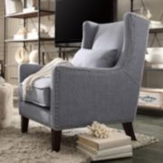 HomeVance Jamestown Nailhead Wingback Arm Chair