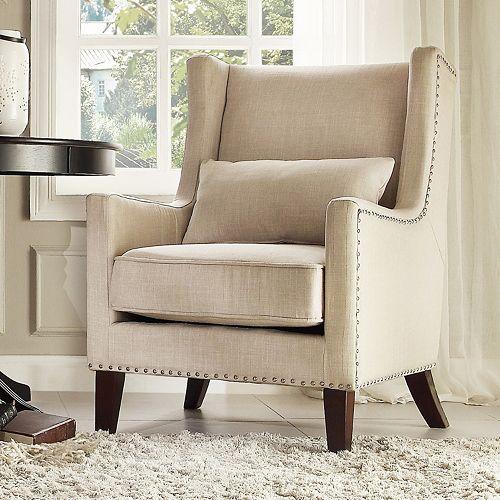 HomeVance Jamestown Nailhead Wingback Arm Chair