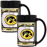 Iowa Hawkeyes 2 pc Ceramic Mug Set with Metallic Wrap