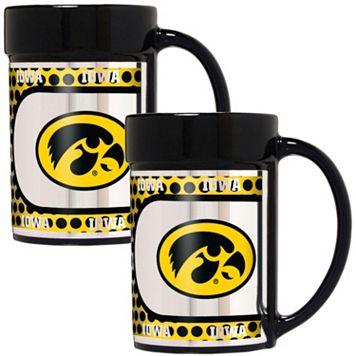 Iowa Hawkeyes 2-Piece Ceramic Mug Set with Metallic Wrap
