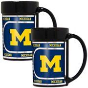 Michigan Wolverines 2 pc Ceramic Mug Set with Metallic Wrap
