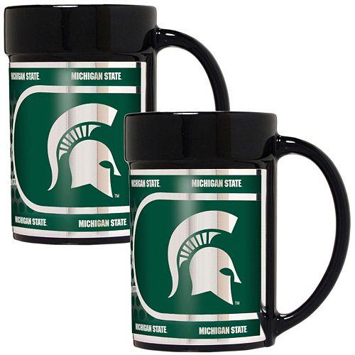 Michigan State Spartans 2-Piece Ceramic Mug Set with Metallic Wrap