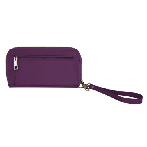 Travelon Signature RFID-Blocking Pleated Double Zip Clutch Wallet