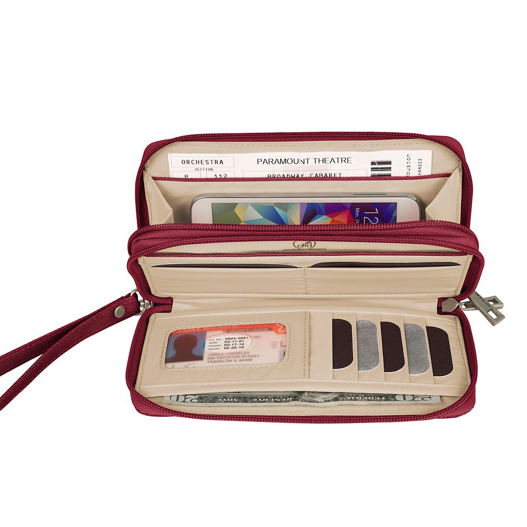 Travelon Signature RFID-Blocking Double Zip Clutch Wallet