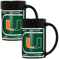 Miami Hurricanes 2 pc Ceramic Mug Set with Metallic Wrap
