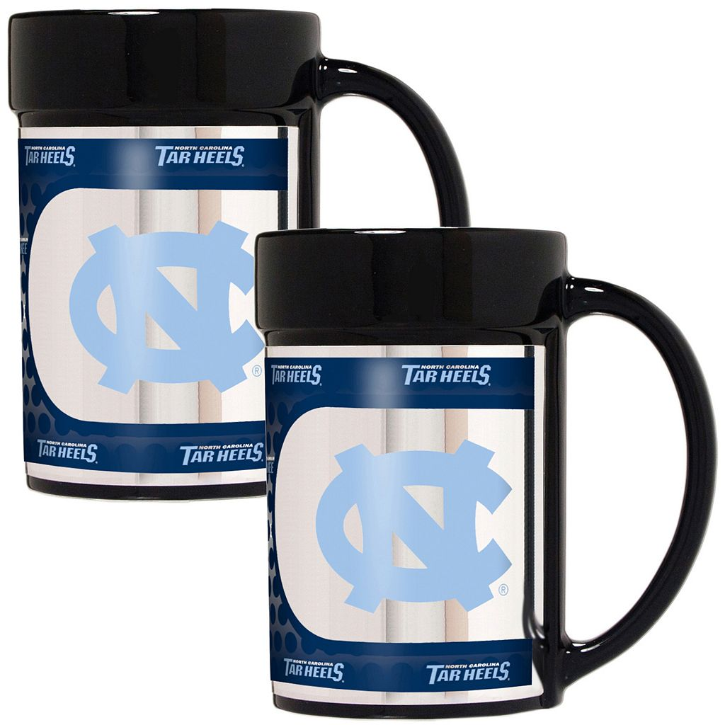 North Carolina Tar Heels 2-Piece Ceramic Mug Set with Metallic Wrap