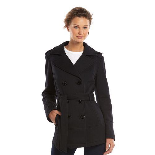Women's Apt. 9® Hooded Double-Breasted Fleece Peacoat