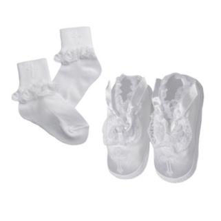 American Originals Ruffled Lace Christening Shoe & Sock Set - Baby Girl