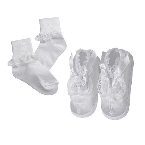 American Originals Ruffled Lace Christening Shoe & Sock Set - Baby Girl