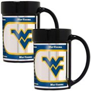 West Virginia Mountaineers 2 pc Ceramic Mug Set with Metallic Wrap