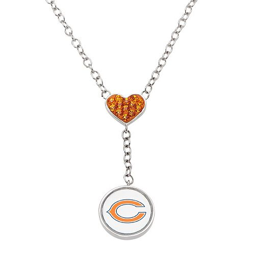 Chicago Bears Crystal Heart & Logo Y Necklace