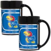 Kansas Jayhawks 2-Piece Ceramic Mug Set with Metallic Wrap