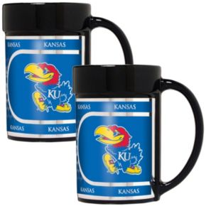 Kansas Jayhawks 2-Piece Ceramic Mug Set with Metallic Wrap