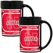 Nebraska Cornhuskers 2 pc Ceramic Mug Set with Metallic Wrap