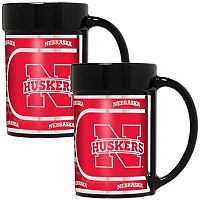 Nebraska Cornhuskers 2-Piece Ceramic Mug Set with Metallic Wrap