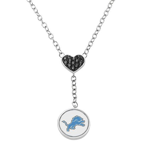 Detroit Lions Crystal Heart & Logo Y Necklace