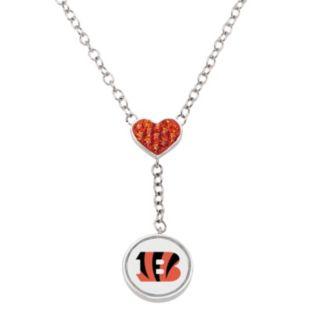Cincinnati Bengals Crystal Heart & Logo Y Necklace
