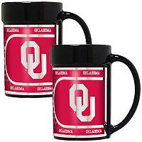 Oklahoma Sooners 2 pc Ceramic Mug Set with Metallic Wrap