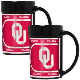 Oklahoma Sooners 2-Piece Ceramic Mug Set with Metallic Wrap