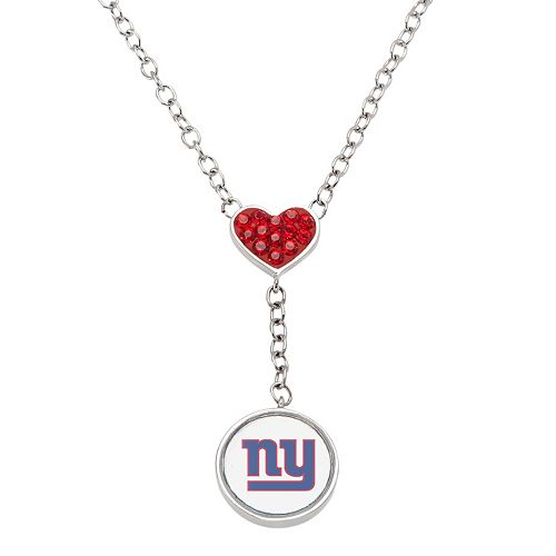 New York Giants Crystal Heart & Logo Y Necklace