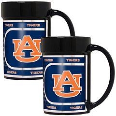 Auburn Tigers 2 pc Ceramic Mug Set with Metallic Wrap