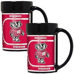 Wisconsin Badgers 2 pc Ceramic Mug Set with Metallic Wrap