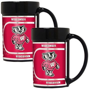 Wisconsin Badgers 2-Piece Ceramic Mug Set with Metallic Wrap