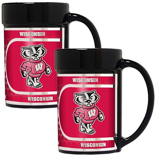 Wisconsin Badgers 2-Piece Ceramic Mug Set with Metallic Wrap