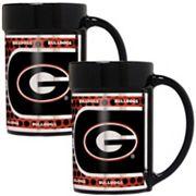 Georgia Bulldogs 2 pc Ceramic Mug Set with Metallic Wrap