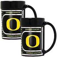 Oregon Ducks 2 pc Ceramic Mug Set with Metallic Wrap