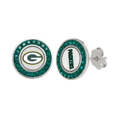 Green Bay Packers Crystal Team Logo Stud Earrings