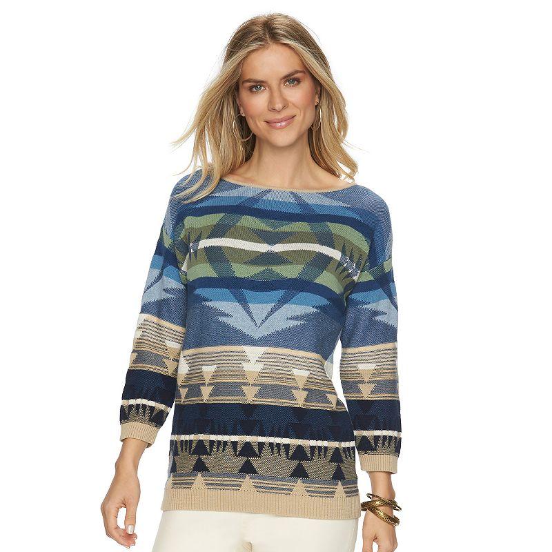 Petite ChapsTribal Boatneck Sweater