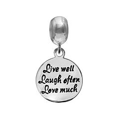 Individuality Beads Sterling Silver 'Live Well Laugh Often Love Much' Charm